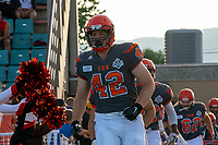 KELOWNA, BC - AUGUST 3: Bailey Tisdel #42 of the Okanagan Sun runs onto the field for the home opening game against the Kamloops Broncos at the Apple Bowl on August 3, 2019 in Kelowna, Canada. (Photo by Marissa Baecker/Shoot the Breeze)