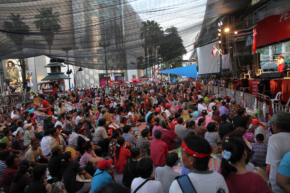 A huge crowd gathers in front of a stage during the Red Shirts anti-government protest in the Rachaprasong area of Bangkok.