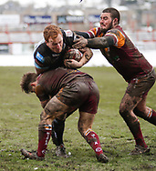 Tom Hemmingway (R) of Batley Bulldogs tackles Jordan Thompson of Leigh Centurions during the Ladbrokes Challenge Cup match at Fox's Biscuits Stadium, Batley<br /> Picture by Stephen Gaunt/Focus Images Ltd +447904 833202