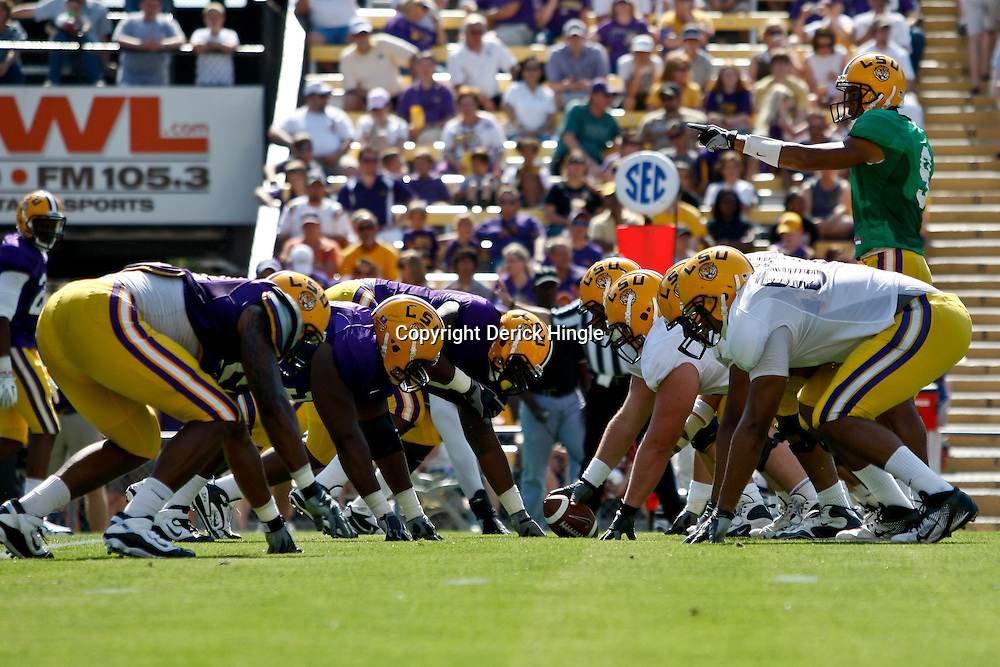 April 9, 2011; Baton Rouge, LA, USA; LSU Tigers quarterback Jordan Jefferson (9) under center for the white team during the 2011 Spring Game at Tiger Stadium.   Mandatory Credit: Derick E. Hingle