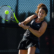 10 November 2017:  The San Diego State Aztecs women's tennis team hosts it's annual Fall Classic II. Magda Aubets seen here retiring a serve during a doubles match.<br /> www.sdsuaztecphotos.com