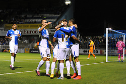 Jermaine Easter of Bristol Rovers celebrates his goal with team mates which makes it 2-0 - Mandatory byline: Dougie Allward/JMP - 07966 386802 - 06/10/2015 - FOOTBALL - Memorial Stadium - Bristol, England - Bristol Rovers v Wycombe Wanderers - JPT Trophy