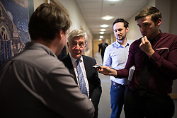© Licensed to London News Pictures . 29/05/2015 . Leigh , UK . TONY LLOYD (2nd left) being interviewed by press after being selected as interim Mayor of Greater Manchester in what is the UK's first devolved Mayorilty with such power , outside of London . Photo credit : Joel Goodman/LNP