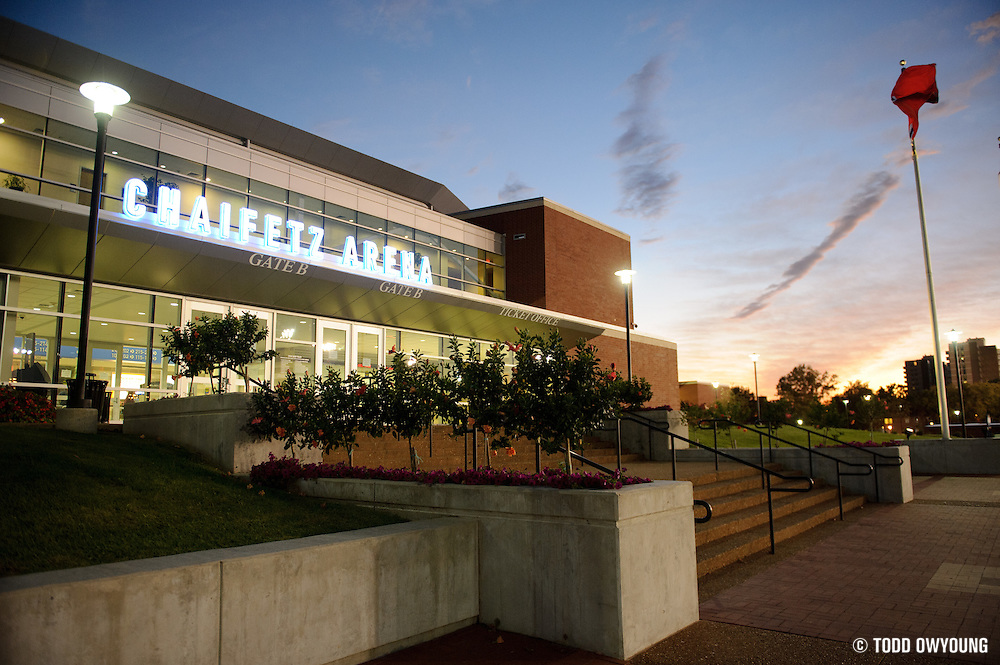 The Chaifetz Arena, photographed just before the start of the Generation LASERS Tour featuring performances by Lupe Fiasco, The New Boyz, Sarah Green and Young Marqus at the Chaifetz Arena on September 29, 2011. Photo by Todd Owyoung.
