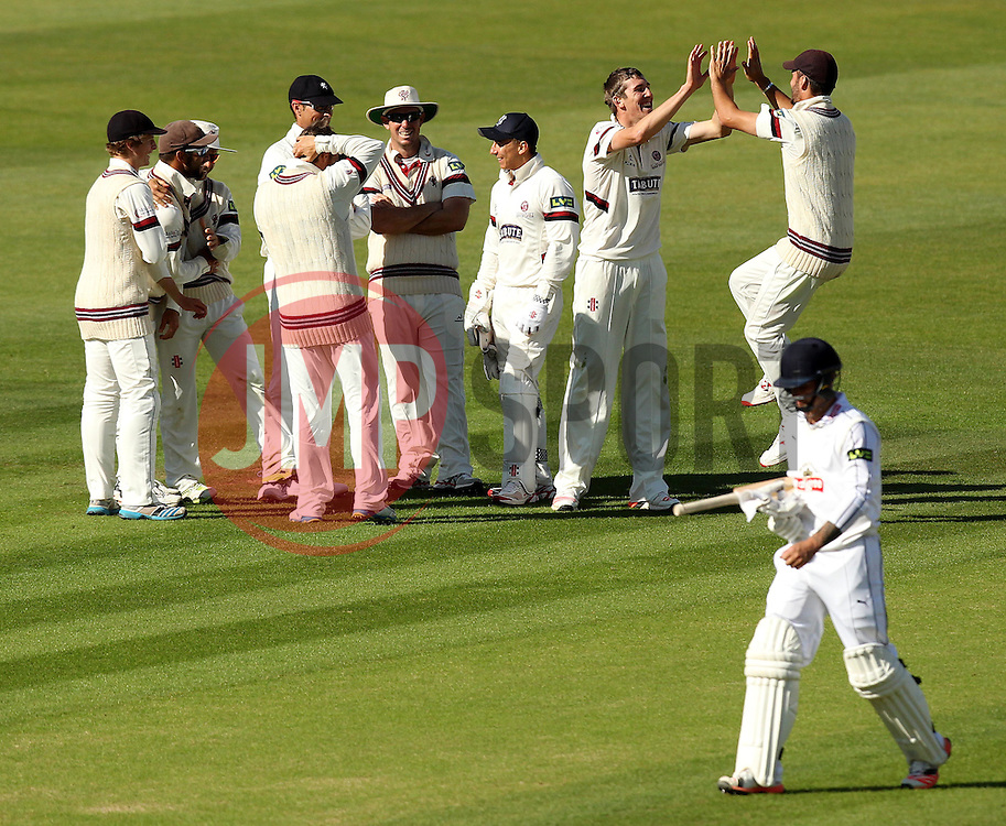 Somerset's Craig Overton celebrates the wicket of Hampshire's Gareth Berg - Photo mandatory by-line: Robbie Stephenson/JMP - Mobile: 07966 386802 - 22/06/2015 - SPORT - Cricket - Southampton - The Ageas Bowl - Hampshire v Somerset - County Championship Division One