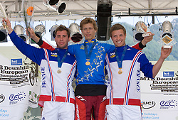 Second placed Aurelien Giordanengo (FRA), Winner Nick Beer (SUI) and third placed Remi Thirion (FRA) of Elite Men category at MTB Downhill European Championships, on June 14, 2009, at Kranjska Gora, Slovenia. (Photo by Vid Ponikvar / Sportida)