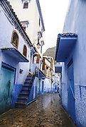 Morocco, Chefchaouen the blue and white houses in the narrow alleyways