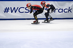 February 8, 2019 - Torino, Italia - Foto LaPresse/Nicolò Campo .8/02/2019 Torino (Italia) .Sport.ISU World Cup Short Track Torino - 500 meter Men Preliminaries.Nella foto: Jia Haidong (sinistra), Melle van T Wout..Photo LaPresse/Nicolò Campo .February 8, 2019 Turin (Italy) .Sport.ISU World Cup Short Track Turin - 500 meter Men Preliminaries.In the picture: Jia Haidong (L), Melle van T Wout (Credit Image: © Nicolò Campo/Lapresse via ZUMA Press)