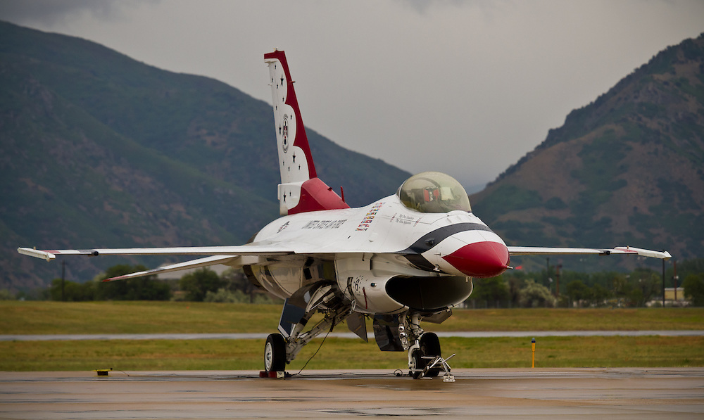 Thunderbird jet waiting on the tarmac.