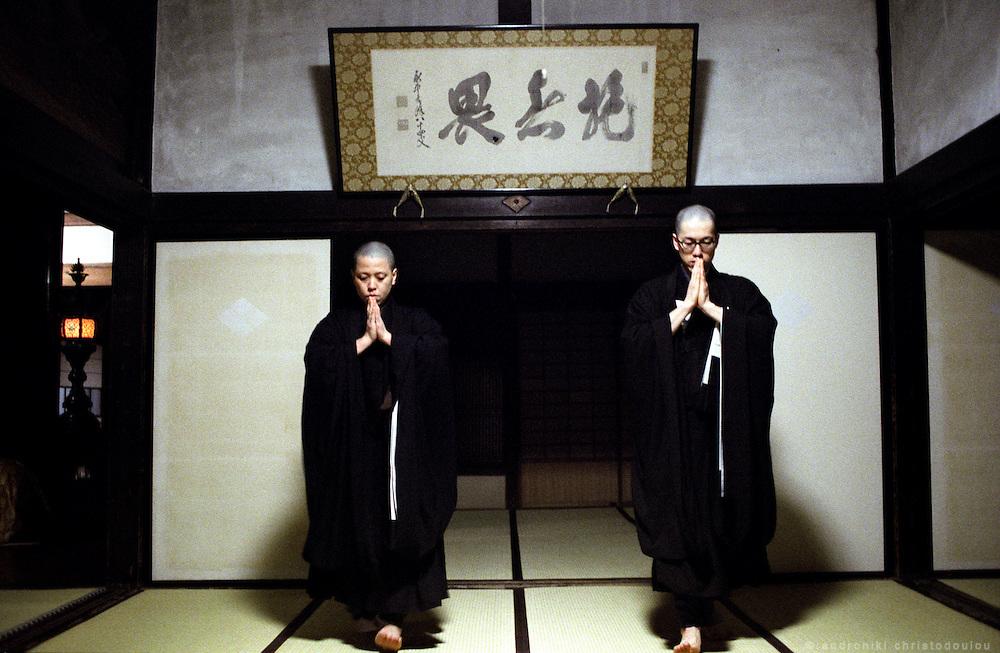 LIVING ZEN - HOSHINJI MONASTERY, OBAMA-JAPAN..Rehearsing the ceremony for Buddha's birthday.