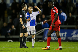 Stuart Sinclair of Bristol Rovers appeals for a handball - Rogan Thomson/JMP - 15/11/2016 - FOOTBALL - Memorial Stadium - Bristol, England - Bristol Rovers v Crawley Town - FA Cup First Round Replay.