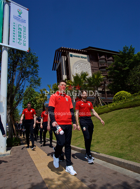NANNING, CHINA - Tuesday, March 20, 2018: Wales' James Chester and Joe Allen during a team walk at the Wanda Realm Resort ahead of the 2018 Gree China Cup International Football Championship. (Pic by David Rawcliffe/Propaganda)