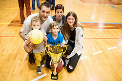 Goran Jagodnik with his ex-wife Andreja and children Vitan, Jaka and Lana after basketball match between KD Ilirija and KK Mesarija Prunk Sezana in Last Round of 2. SKL  2016/17, on April 15, 2017 in GIB center, Ljubljana, Slovenia. Photo by Vid Ponikvar / Sportida