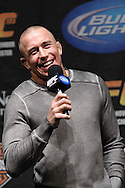 "MANCHESTER, ENGLAND, NOVEMBER 13, 2009: UFC welterweight champion Georges St. Pierre was the speaker at the ""Fight Club"" fan question and answer session ahead of the weigh-ins for UFC 105 at the MEN Arena in Manchester, England on November 13, 2009."