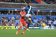 Birmingham City midfielder Jacques Maghoma plays the ball during the Sky Bet Championship match between Birmingham City and Milton Keynes Dons at St Andrews, Birmingham, England on 28 December 2015. Photo by Alan Franklin.