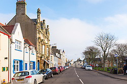 View of main street in village of Elie on East Neuk of Fife in Scotland, United Kingdom