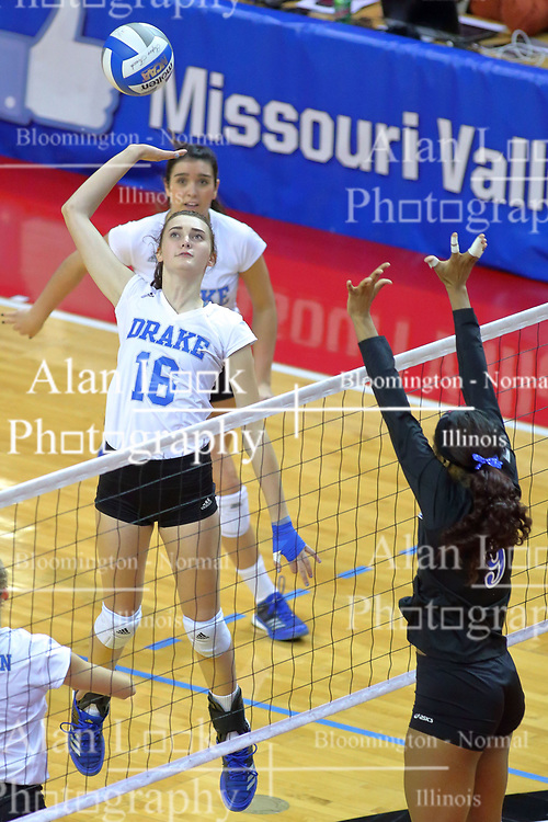 23 November 2017:  Gillian Gergen prepares to strike the ball the direction of Damadj Johnson during a college women's volleyball match between the Drake Bulldogs and the Indiana State Sycamores in the Missouri Valley Conference Tournament at Redbird Arena in Normal IL (Photo by Alan Look)