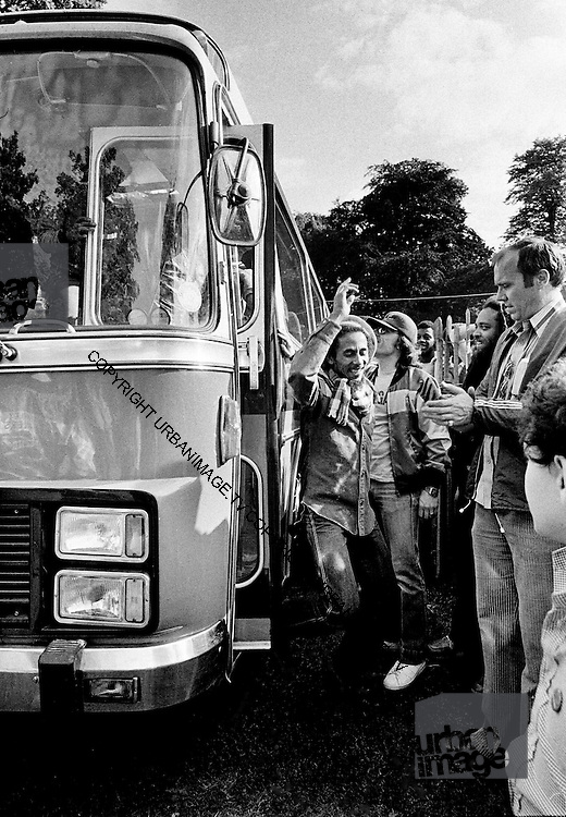 Bob arrives at Crystal Palace for concert 7th June 1980