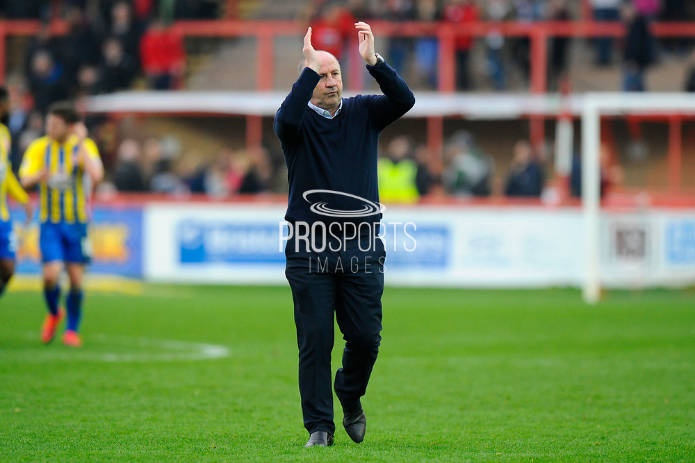 Accrington Stanley manager John Coleman applauds the travelling fans at full time after Accrington's 2-0 win during the EFL Sky Bet League 2 match between Exeter City and Accrington Stanley at St James' Park, Exeter, England on 11 March 2017. Photo by Graham Hunt.