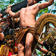 PHILIPPINES (Boac, Marinduque Island). 2009. Crucifixion at Moriones Festival in Boac. Moriones is a religious festival held every year at Easter in Marinduque Island which links the story of Longinus with Christs Passion and Death.