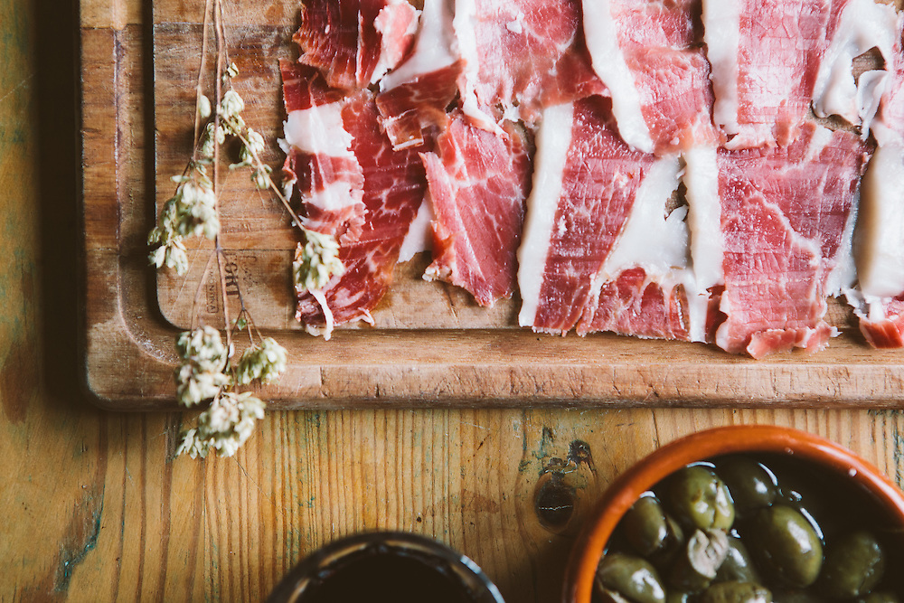 Jamon Iberico, 100% Acorn fed ham from the Extramedura region of Spain.