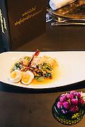 Smoked eggplant salad with perfect eggs at Bo.lan restaurant