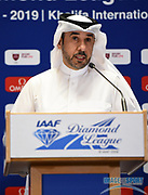 Qatar Athletics Federation president Dr. Thani bin Abdulrahman al-Kuwari during a news conference at the Intercontinental Doha Hotel-The City, Thursday, May 2, 2019, in Doha, Qatar prior to the 2019 IAAF Diamond League Doha meeting. (Jiro Mochizuki/Image of Sport)
