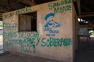 La Tunia, Meta, Colombia - 15.09.2016        <br /> <br /> The village La Tunia is located in a Colombian area which is controlled by the marxist guerrilla FARC. At the entrance of the village is road sign with the local prohibitive rules.<br /> <br /> Das Dorf La Tunia liegt in dem Teil Kolumbiens der von der marxistischen Guerilla FARC kontrolliert wird. Bereits an der Zufahrtsstrasse befindet sich ein Schild, welches auf lokale Verbote die Strafen bei Verstoe&szlig;en aufmerksam macht. <br /> <br /> Photo: Bjoern Kietzmann