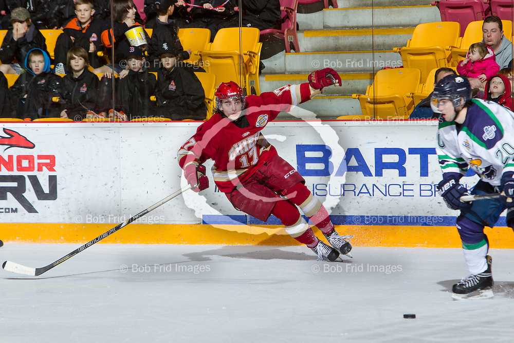 29 December 2013:   Ben Butcher (17) of the Chiefs during a game between the Chilliwack Chiefs and the Surrey Eagles at Prospera Centre, Chilliwack, BC.    ****(Photo by Bob Frid - All Rights Reserved 2013): mobile: 778-834-2455 : email: bob.frid@shaw.ca ****