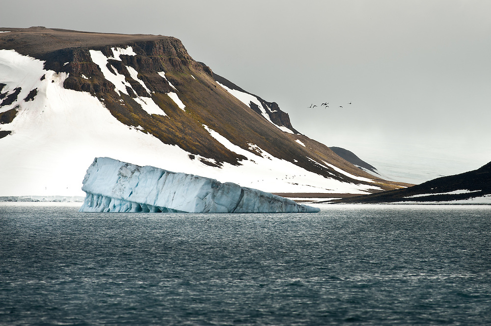 An iceberg floats in Tikhaya Bay in Franz Josef Land.