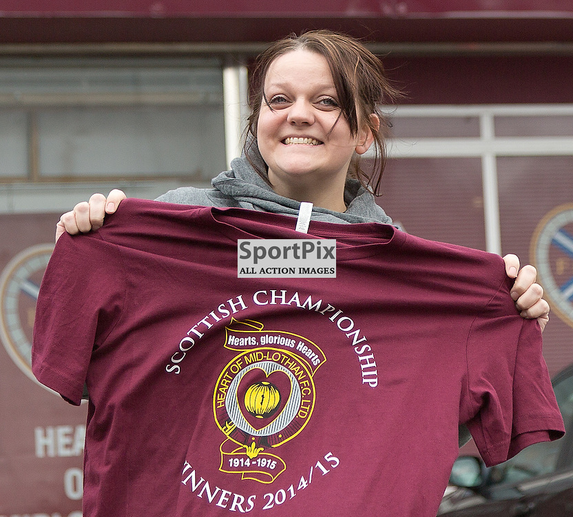 Hearts v Queen of the South Scottish Championship 28 March 2015; Hearts fans snap up the Champions 2015 t-shirts before the Heart of Midlothian v Queen of the South Scottish Championship match played at Tynecastle Stadium, Edinburgh;