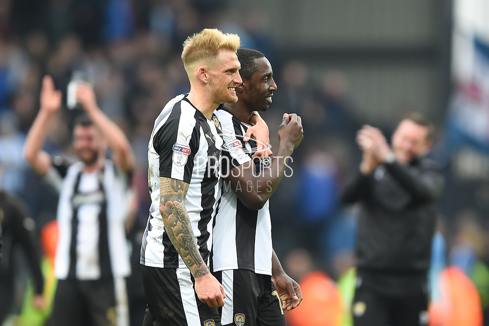 Notts County defender Daniel Jones (23) and Notts County forward Jonathan Forte (14) during the EFL Sky Bet League 2 match between Notts County and Coventry City at Meadow Lane, Nottingham, England on 7 April 2018. Picture by Jon Hobley.