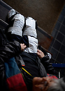 Barnes, Greater London, United Kingdom. Cox from X-Press, with her race instructions and crew order, taped to her legs 2014 Head of the River Race, Mortlake to Putney, Championship Course River Thames;  Saturday   29/03/2014   [Mandatory Credit; Peter SPURRIER/Intersport Images].