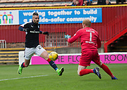 Dundee's Marcus Haber\s effort if fumbled by Motherwell's Craig Samson in the lead up to the opening goal - Motherwell v Dundee, Fir Park, Motherwell, Photo: David Young<br /> <br />  - © David Young - www.davidyoungphoto.co.uk - email: davidyoungphoto@gmail.com