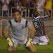 Julio Cesar (right) celebrates after scoring for Fluminense as Vasco goalkeeper Fernando Prass shows his disappointment at conceding  during the Fluminense FC V CR Vasco da Gama Futebol Brasileirao League match at the Maracana, Jornalista Mário Filho Stadium,  The match ended in a 2-2 draw. Rio de Janeiro,  Brazil. 22nd August 2010. Photo Tim Clayton..