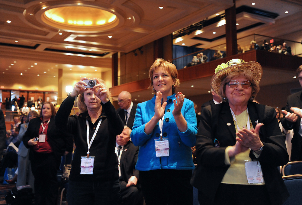 (left to right) Joyce Malecha, Warminster, Co, Deborah O'Hagan, of West Bloomfield, MI and Martha Stamp, of Wakefield, RI, cheer for Minnesota Gov. Tim Pawlenty during the 37th Annual Conservative Political Action Conference held at Marriott Wardman Park Hotel in Washington DC on Friday, Feb. 19, 2009. (Amanda Lucidon)