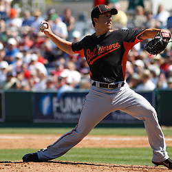 March 7, 2011; Fort Myers, FL, USA; Baltimore Orioles relief pitcher Jason Berken (49) during a spring training exhibition game against the Boston Red Sox at City of Palms Park.   Mandatory Credit: Derick E. Hingle