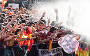 Spaniards celebrating Spain's Euro 2012 championship soccer team arrives to Madrid
