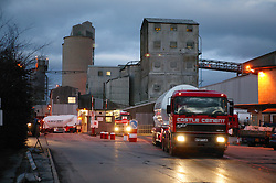 Lorry leaving the Castle Cement factory; Clitheroe; Lancashire,