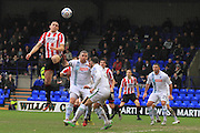 Danny Wright wins a header  during the Vanarama National League match between Tranmere Rovers and Cheltenham Town at Prenton Park, Birkenhead, England on 20 February 2016. Photo by Antony Thompson.