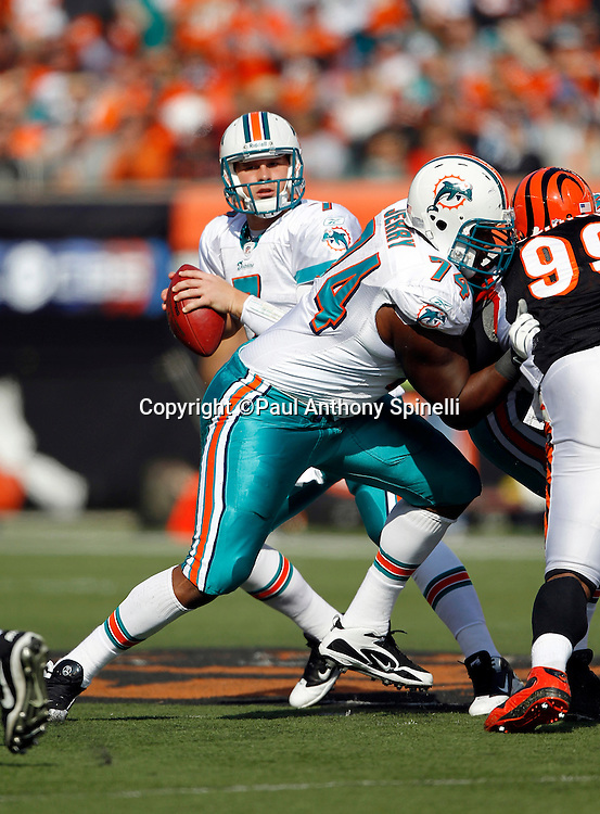 Miami Dolphins guard John Jerry (74) blocks during the NFL week 8 football game against the Cincinnati Bengals on Sunday, October 31, 2010 in Cincinnati, Ohio. The Dolphins won the game 22-14. (©Paul Anthony Spinelli)