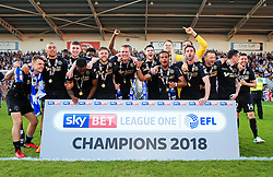 Free to use courtesy of Sky Bet - Wigan Athletic players celebrate after lifting the Sky Bet League One title - Mandatory by-line: Matt McNulty/JMP - 05/05/2018 - FOOTBALL - The Keepmoat Stadium - Doncaster, England - Doncaster Rovers v Wigan Athletic - Sky Bet League One