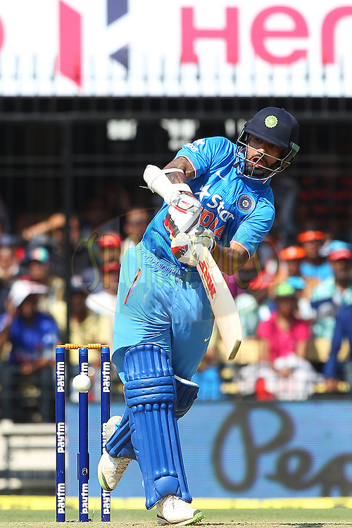 Shikhar Dhawan of India during the 2nd Paytm Freedom Trophy Series One Day International ( ODI ) match between India and South Africa held at the Holkar Stadium in Indore, India on the 14th October 2015<br /> <br /> Photo by Ron Gaunt/ BCCI/ Sportzpics