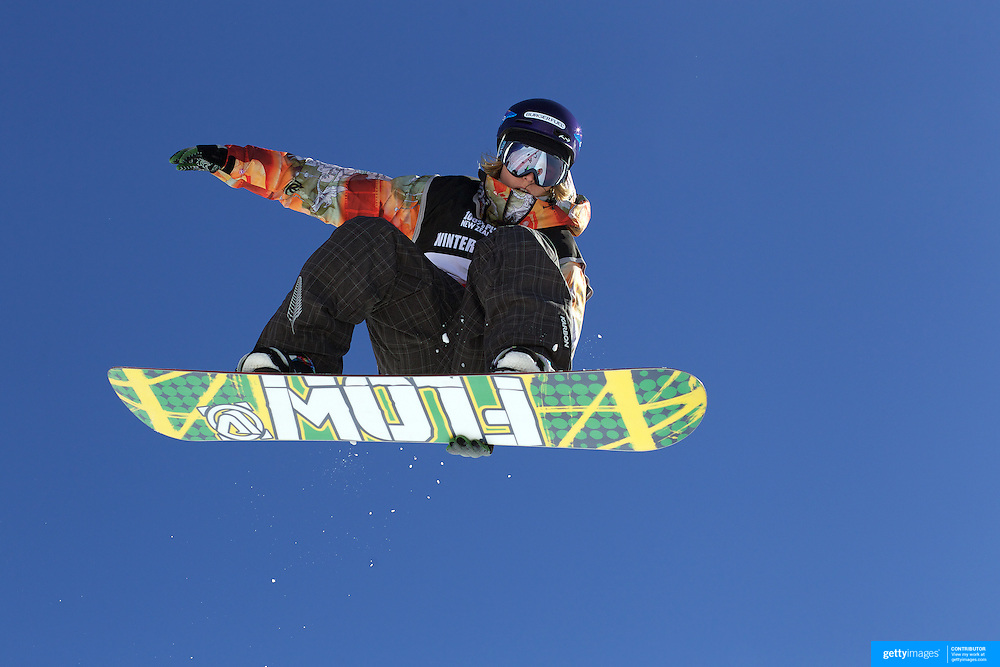 James Hamilton, New Zealand, in action during the Men's Half Pipe Finals in the LG Snowboard FIS World Cup, during the Winter Games at Cardrona, Wanaka, New Zealand, 28th August 2011. Photo Tim Clayton..