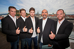 07.09.2011, Sparkassen Center, Graz, AUT, EBEL, 99ers Pressekonferenz, im Bild Rody Short, Toni Dahlman, Sebastien Bisaillon, Coach Mario Richer und Oliver Latendresse // during a 99ers Press-Conference, Sparkassen Center, Graz, Austria, 2011-09-07, EXPA Pictures © 2011, PhotoCredit: EXPA/ E. Scheriau
