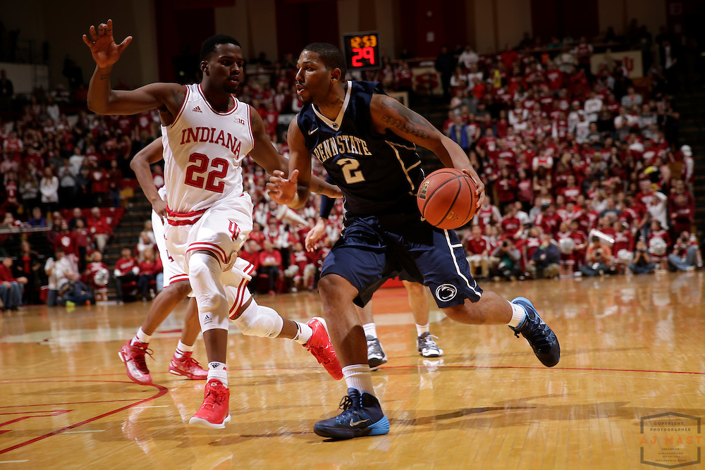 Penn State guard D.J. Newbill (2) as Penn State played Indiana in an NCCA college basketball game in Bloomington, Ind., Tuesday, Jan. 13, 2015. (AJ Mast)