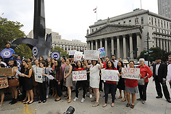 October 4, 2018 - New York, NY, USA - New York Legal Aid attorneys rallied against Brett Kavanaugh's confirmation at Manhattan's Foley Square Thursday afternoon. (Credit Image: © John Gastaldo/ZUMA Wire)