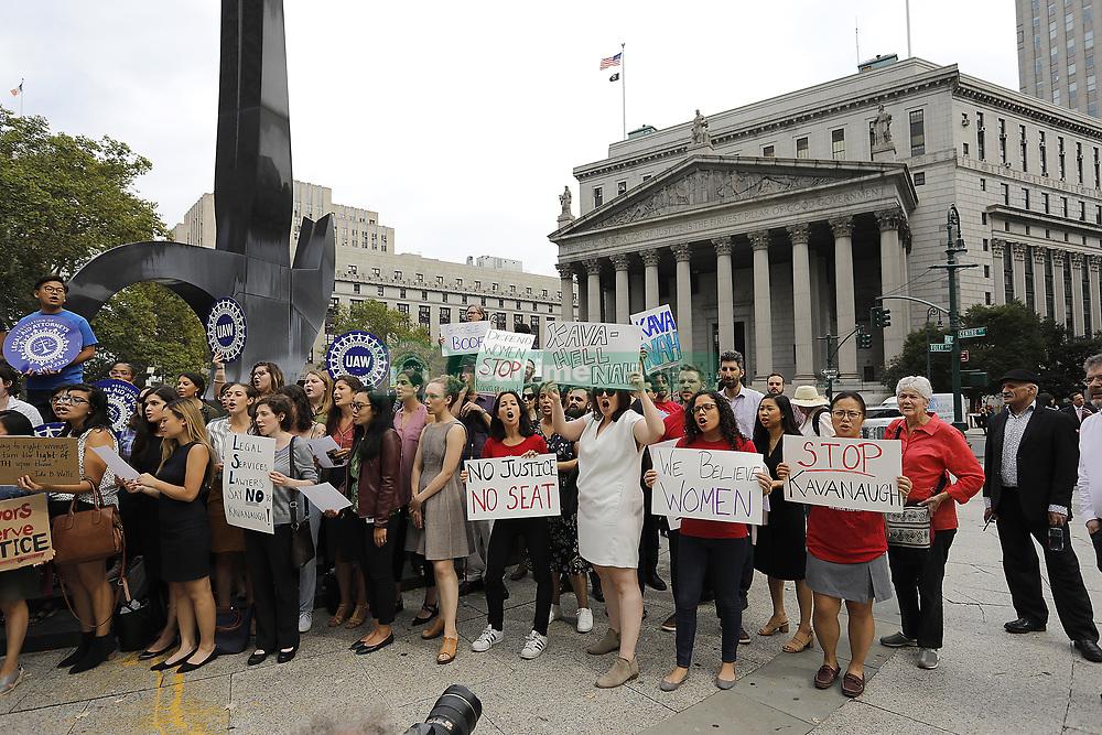October 4, 2018 - New York, NY, USA - New York Legal Aid attorneys rallied against Brett Kavanaugh's confirmation at Manhattan's Foley Square Thursday afternoon. (Credit Image: © John Gastaldo/ZUMA Wire)