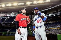 Miami Marlins Jose Fernandez and LA Dodgers Yasiel Puig pose for a portrait at Marlins Park in Miami.<br /> ( Photo/Tom DiPace)