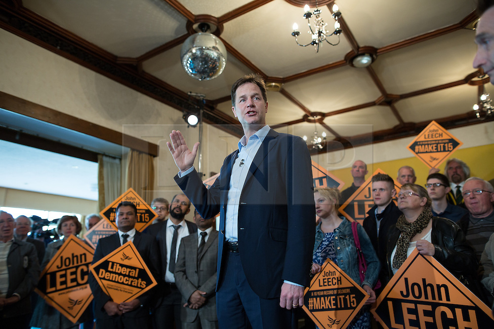 © Licensed to London News Pictures . 01/05/2015 . Manchester , UK . NICK CLEGG speaks at a Liberal Democrat party rally at Chorlton-cum-Hardy Golf Club . Liberal Democrat party leader Nick Clegg visits the constituency of Manchester Withington to deliver a speech on the NHS and campaign with local candidate John Leech . Photo credit : Joel Goodman/LNP
